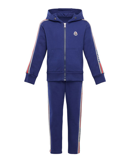Moncler Boy's Molleton Two-Piece Jogging Set w/ Logo Taping, Size 8-14