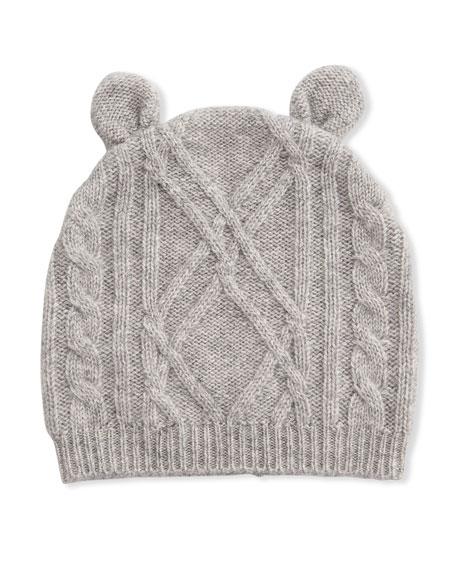 Sofia Cashmere Argyle Cable Knit Beanie Hat w/ Bear Ears, Size 3-18 Months