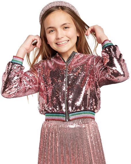 Bardot Junior Girl's Eva Sequin Bomber Jacket, Size 7-16