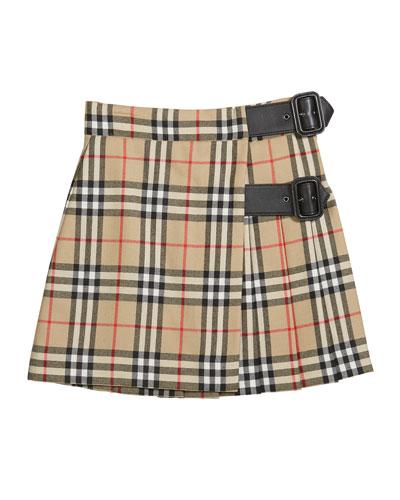 Girl's Luisa Buckle Check Skirt  Size 4-14