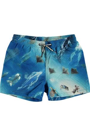 Molo Boy's Niko Sea Print Swim Shorts, Size 2T-10