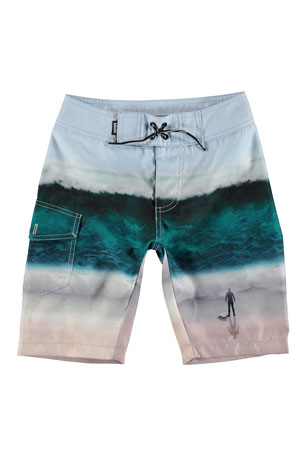 Molo Boy's Nalvaro Wave Print Board Shorts, Size 3T-12
