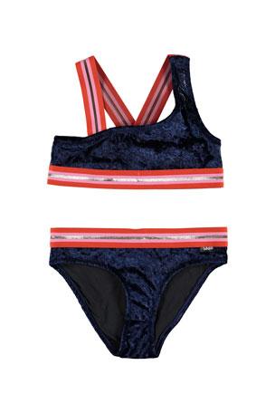 Molo Girl's Nicola Velvet Two-Piece Bikini w/ Sports Ribbing, Size 3T-16