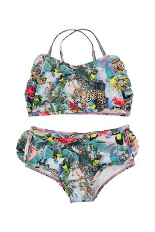 Molo Girl's Nanda Jungle Print Crop Top Two-Piece Bikini, Size 2T-12
