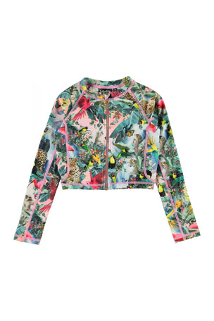 Molo Girl's Nellie Cropped Zip Front Rash Guard, Size 3T-14