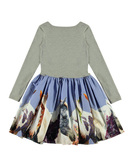 Molo Girl's Casie Ribbed Long-Sleeve Dress w/ Horse Print Skirt, Size 2T-12