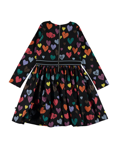 Molo Girl's Christin Long-Sleeve Heart Print Dress, Size 3T-14