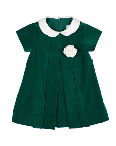 Girl's Twill Velvet Dress w/ Rosette  Size 3-24 Months