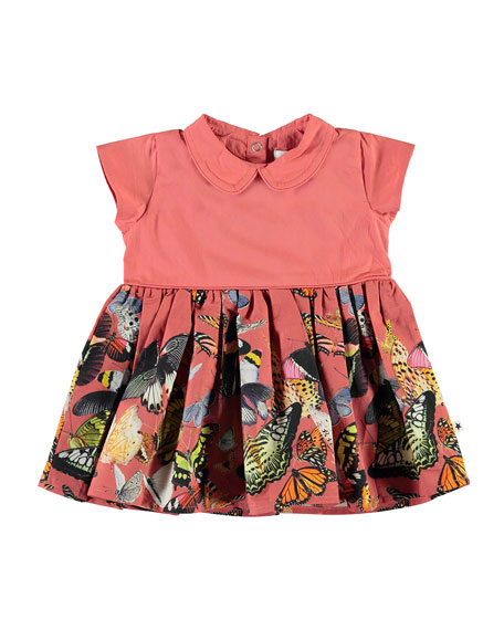 Molo Girl's Cinna Butterfly Print Dress, Size 12-24 Months
