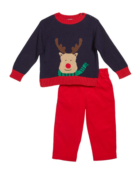 Florence Eiseman Boy's Reindeer Intarsia Sweater w/ Corduroy Pants, Size 2-4