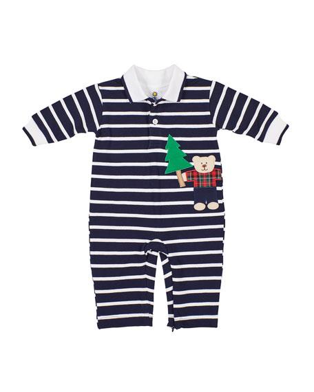 Florence Eiseman Boy's Stripe Lumberjack Bear Applique Coverall, Size 3-24 Months