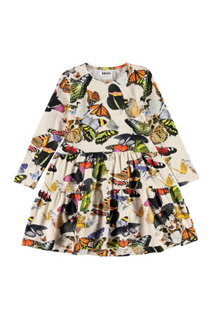Molo Girl's Chia Butterfly Print Tiered Dress, Size 2T-12