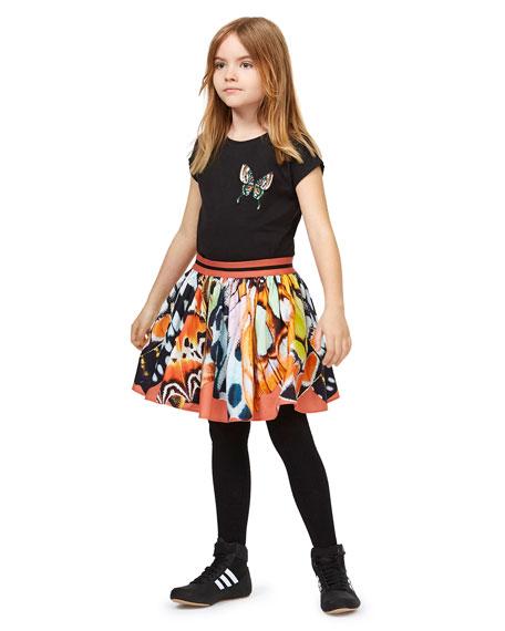 Molo Girl's Ragnhilde Short-Sleeve Tee w/ Butterfly Detail, Size 3-12