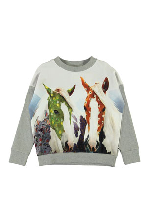 Molo Girl's Maxi Horse Print Sweatshirt, Size 3-14