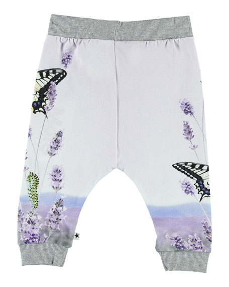Image 2 of 2: Girl's Susanne Butterfly Print Jogger Pants, Size 6-24 Months