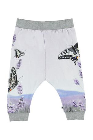 Molo Girl's Susanne Butterfly Print Jogger Pants, Size 6-24 Months
