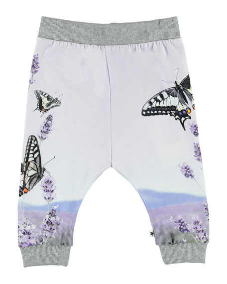 Image 1 of 2: Girl's Susanne Butterfly Print Jogger Pants, Size 6-24 Months