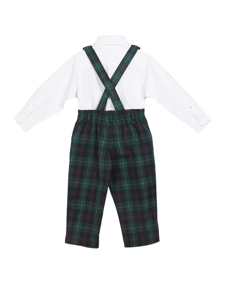 Florence Eiseman Plaid Overalls w/ Oxford Dress Shirt & Matching Bow Tie, Size 12-24 Months