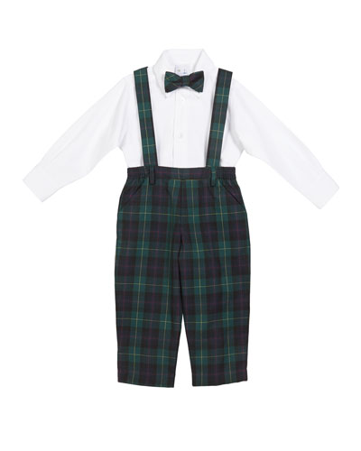 Plaid Overalls w/ Oxford Dress Shirt & Matching Bow Tie  Size 12-24 Months