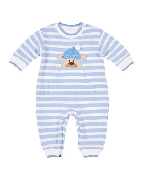 Florence Eiseman Boy's Stripe Pique Coverall w/ Dog Applique, Size 3-12 Months