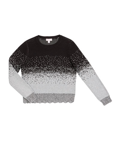 Girl's Ombre Metallic Speckled Sweater, Size S-XL