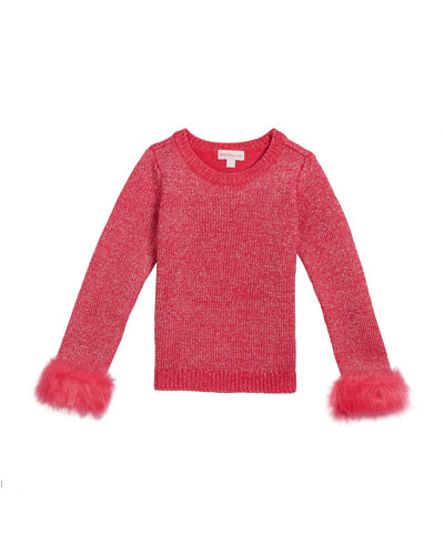 Girl's Metallic Knit Sweater w/ Faux Fur Cuffs  Size 2-6X