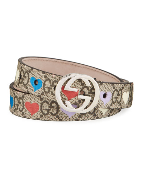 Gucci Kid's GG Supreme Hearts Print Belt w/ Interlocking G Buckle