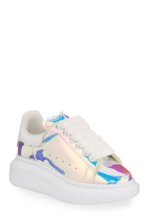 Alexander McQueen Lace-Up Holographic Sneakers, Toddler/Kids