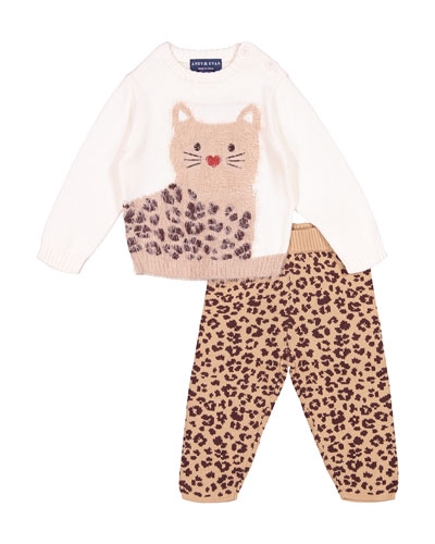 Girl's Fuzzy Cat Intarsia Sweater w/ Matching Knit Pants  Size 3-24 Months