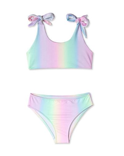 Girl's Pastel Ombre Two-Piece Bikini Swim Set  Size 4-14