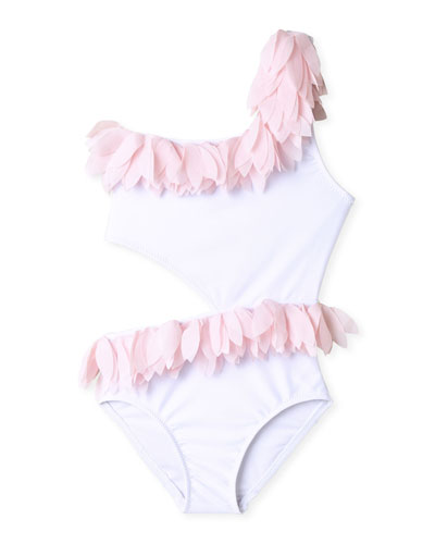 Girl's Tulle Petals Side Cutout One-Piece Swimsuit  Size 2-14