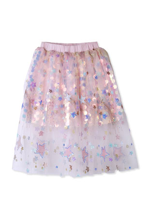 Stella Cove Girl's Sequin Tulle Skirt, Size 2-8
