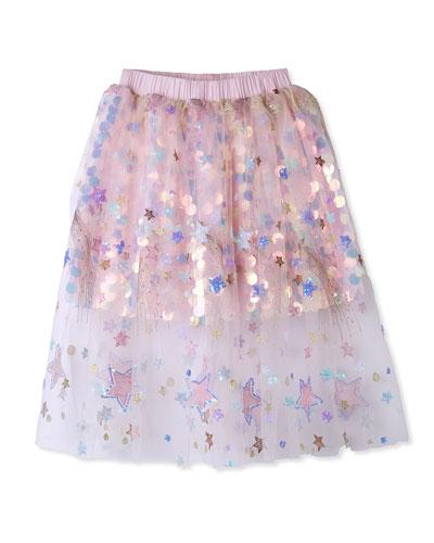 Girl's Sequin Tulle Skirt  Size 2-8