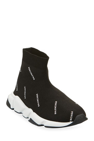 Balenciaga All Over Logo Speed Sneakers, Toddler/Kids
