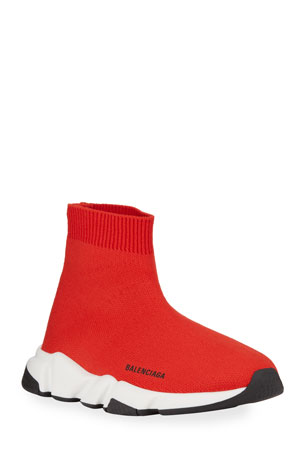 Balenciaga Speed Sock Sneakers, Toddler/Kids, Red/White