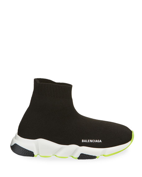 Image 2 of 4: Balenciaga Speed Sock Sneakers with Tricolor Sole, Toddler/Kids