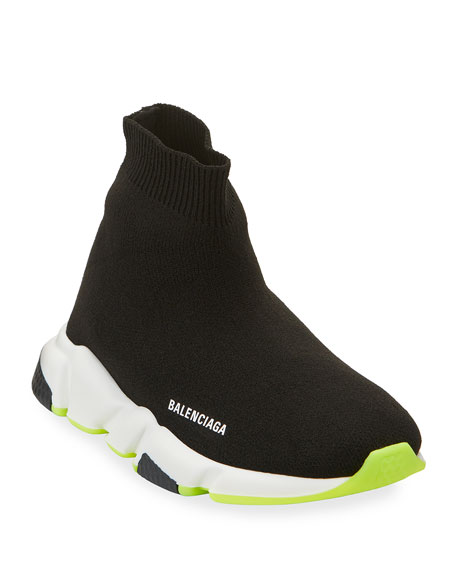 Image 1 of 4: Balenciaga Speed Sock Sneakers with Tricolor Sole, Toddler/Kids
