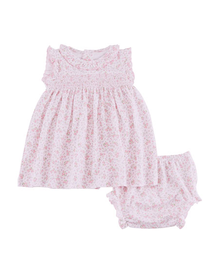 Kissy Kissy Dusty Rose Pima Dress w/ Matching Bloomers, Size 3-24 Months