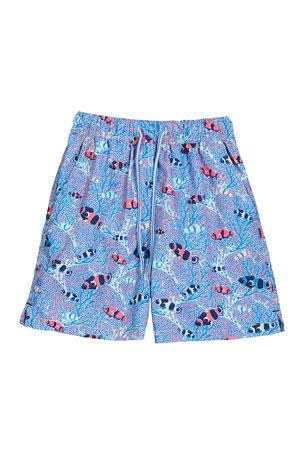 Peter Millar Boy's Friends & Anemones Print Swim Trunks, Size XXS-XL