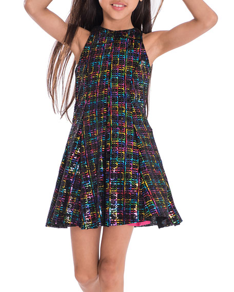 Zoe Girl's Stacey Rainbow Sequin Knit Dress, Size 7-16