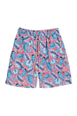 Peter Millar Boy's Tucanopy Tropical Print Swim Trunks, Size XXS-XL