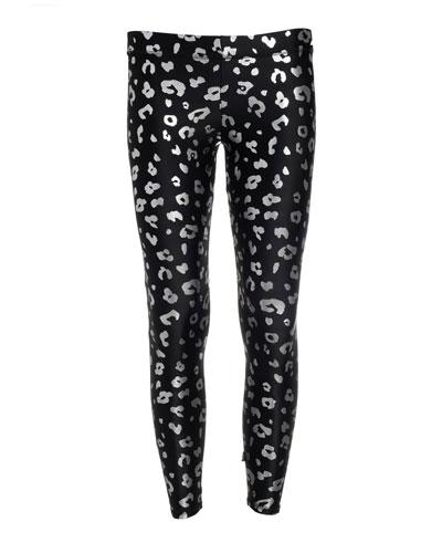Girl's Foiled Cheetah Print Leggings  Size 7-16
