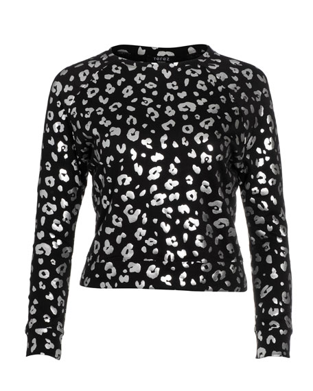 Terez Girl's Foiled Cheetah Print French Terry Sweater, Size 7-16