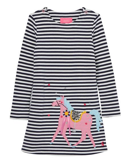 Joules Girl's Kaye Stripe Horse Applique Dress, Size 2-6