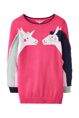 Joules Girl's GeeGee Horse Intarsia Sweater, Size 2-6