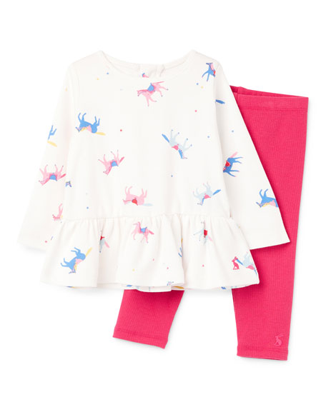 Joules Girl's Olivia Horse Print Top w/ Ribbed Leggings, Size 6-24 Months