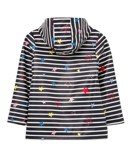 Joules Kid's Raindance Stripe Star Print Raincoat, Size 4-10