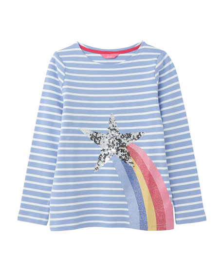 Joules Girl's Harbour Luxe Striped Sequin Star Top, Size 4-10