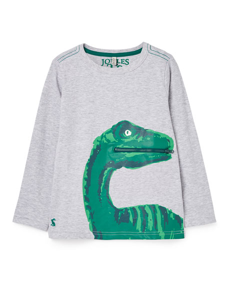 Joules Boy's Zipadee Dino Zip Pocket Shirt, Size 3-6