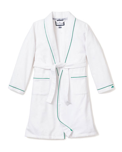 Kid's Flannel Contrast Piping Robe  Size 1-14